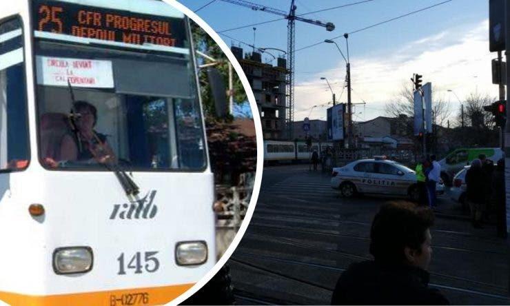 Crimă în Bucureşti. Bărbat, împins în faţa tramvaiului, la staţia Calea 13 septembrie