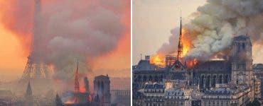 Incendiu teribil la Catedrala Notre-Dame. Francezii se roagă în stradă