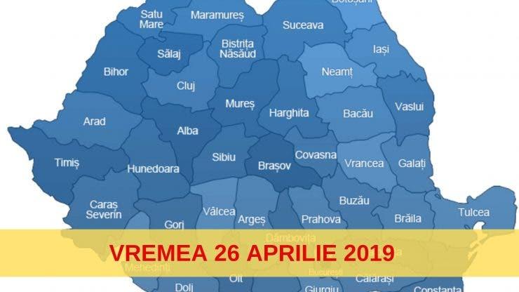 Vremea 26 Aprilie 2019. Temperaturile se mențin ridicate