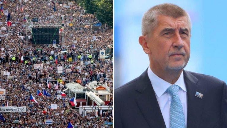 Protest masiv în Cehia. Peste 200.000 de cehi au protestat împotriva premierului