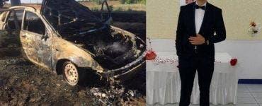 Tânărul care și-a dat foc în mașină, a murit la spital