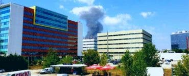 Incendiu puternic în Zona Pipera din Capitală