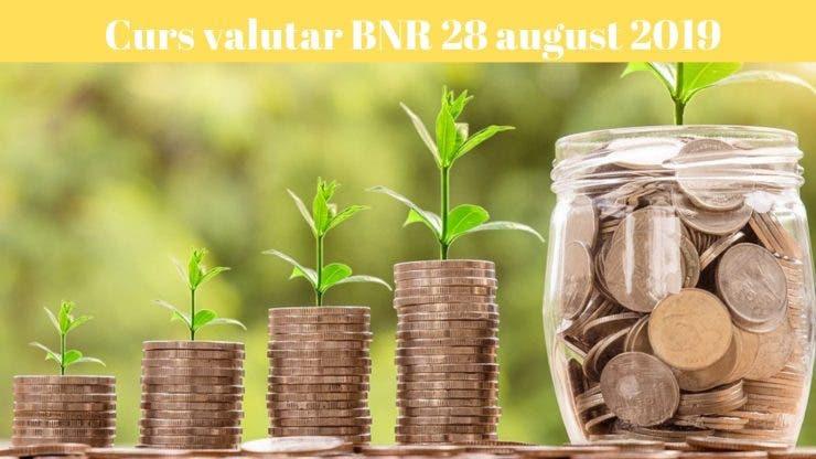 Curs valutar BNR 28 august 2019. Care sunt cotațiile de azi