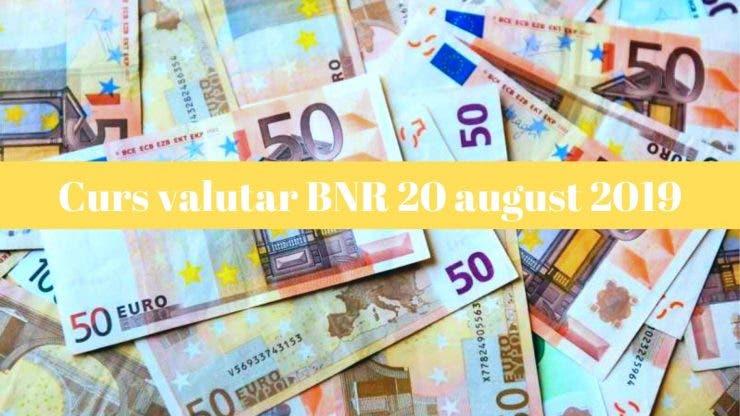 Curs valutar BNR 20 august 2019. Câți lei costă un euro astăzi