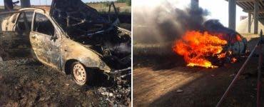 Un tânăr și-a dat foc în mașină pe Autostrada Soarelui