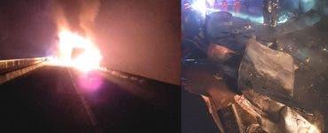 Accident în Sibiu. Un TIR a luat foc după ce a intrat într-un cap de pod