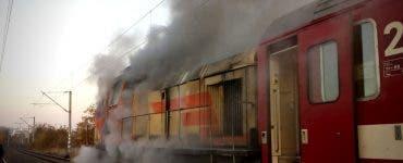Locomotiva trenului internațional Cluj-Viena a luat foc