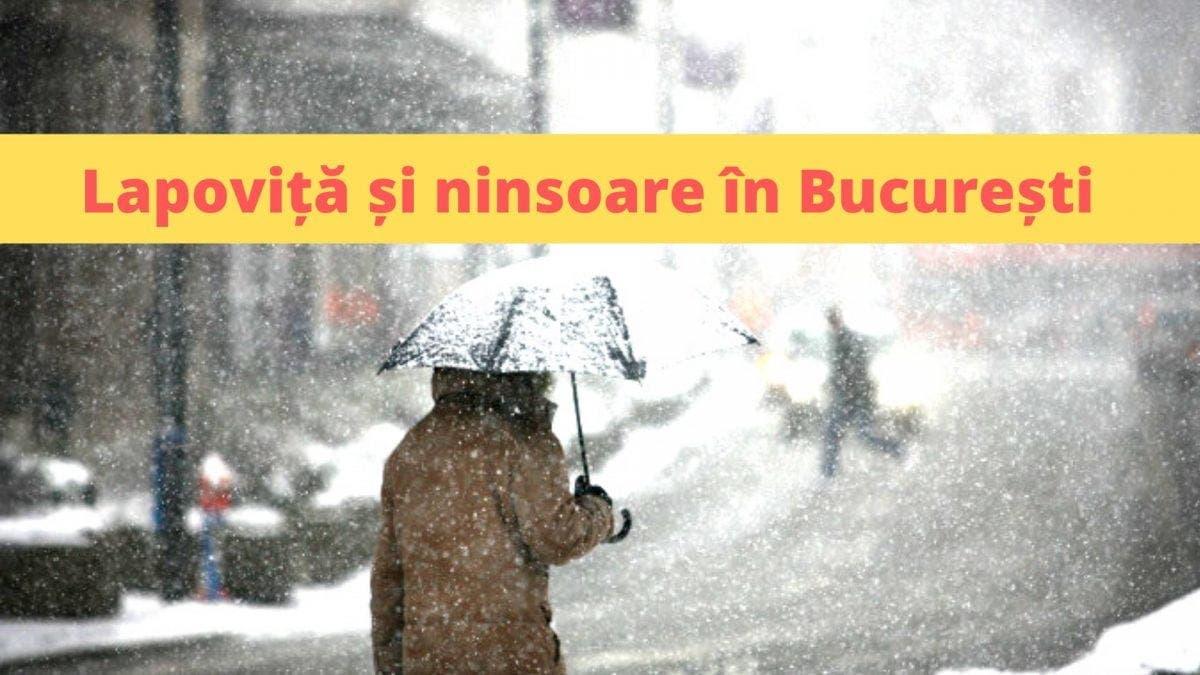 Avertisment ANM. Lapoviță și ninsoare în București, începând  vineri seară