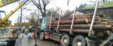 Un camion plin cu lemne s-a răsturnat peste o persoană aflată pe marginea drumului