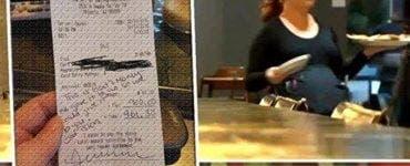 Mesajul scris pe nota de plată a făcut-o să plângă. Chelnerița era gravidă în 9 luni