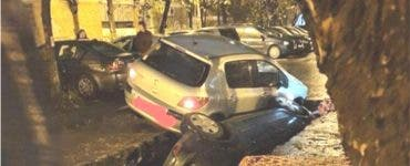 Două mașini au căzut într-o groapă, în sectorul 6 din București