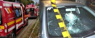 Un bărbat din Arad a distrus șapte mașini și a sărit de la etaj cu o macetă în mână