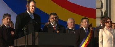 Klaus Iohannis huiduit în timpul discursului