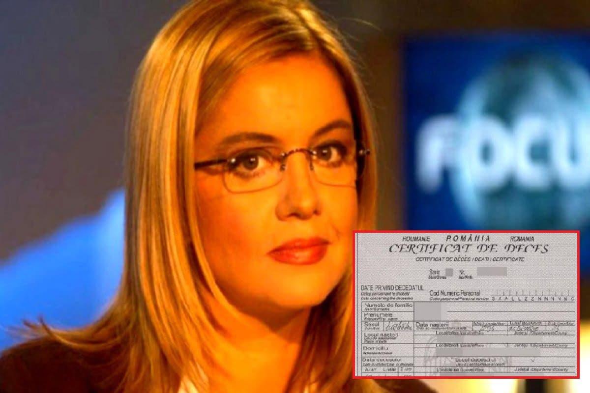 ULTIMA ORA! Acum s-a aflat! Ce scrie în certificatul de deces al Cristinei Țopescu