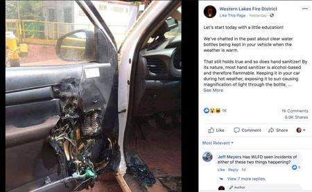 Definfectat lăsat în mașină