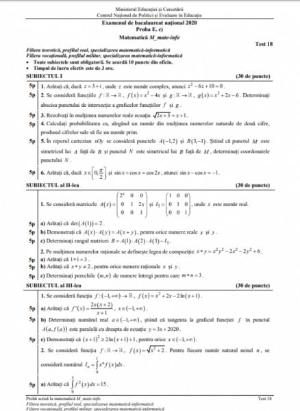 Model bac matematică
