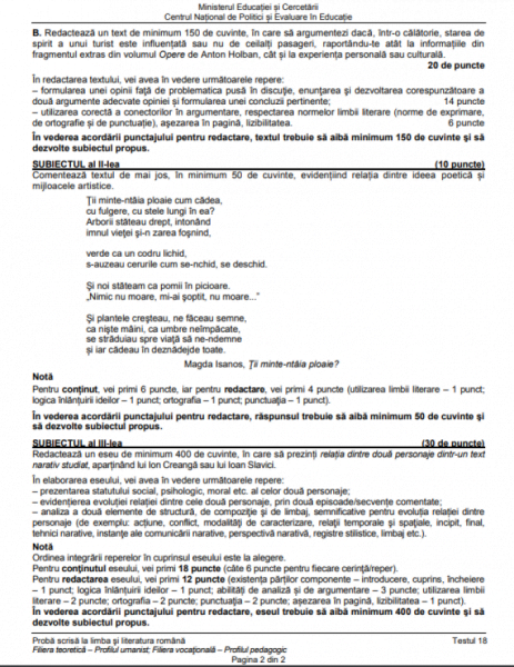 Model bac examen română