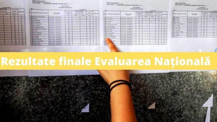 Rezultate finale Evaluarea Națională