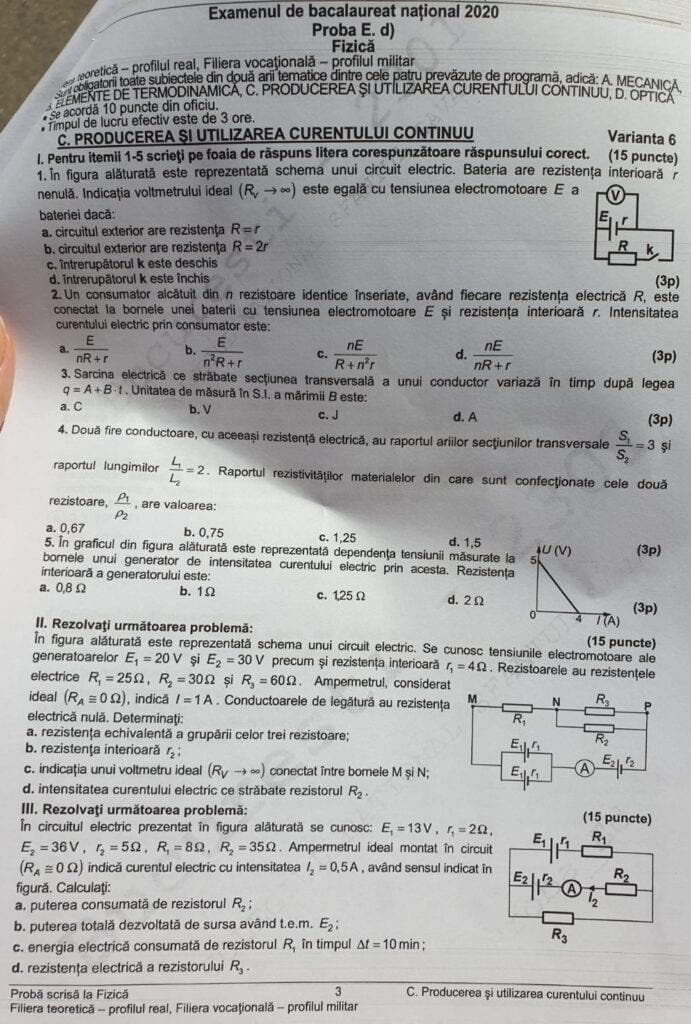 Subiecte BAC fizica
