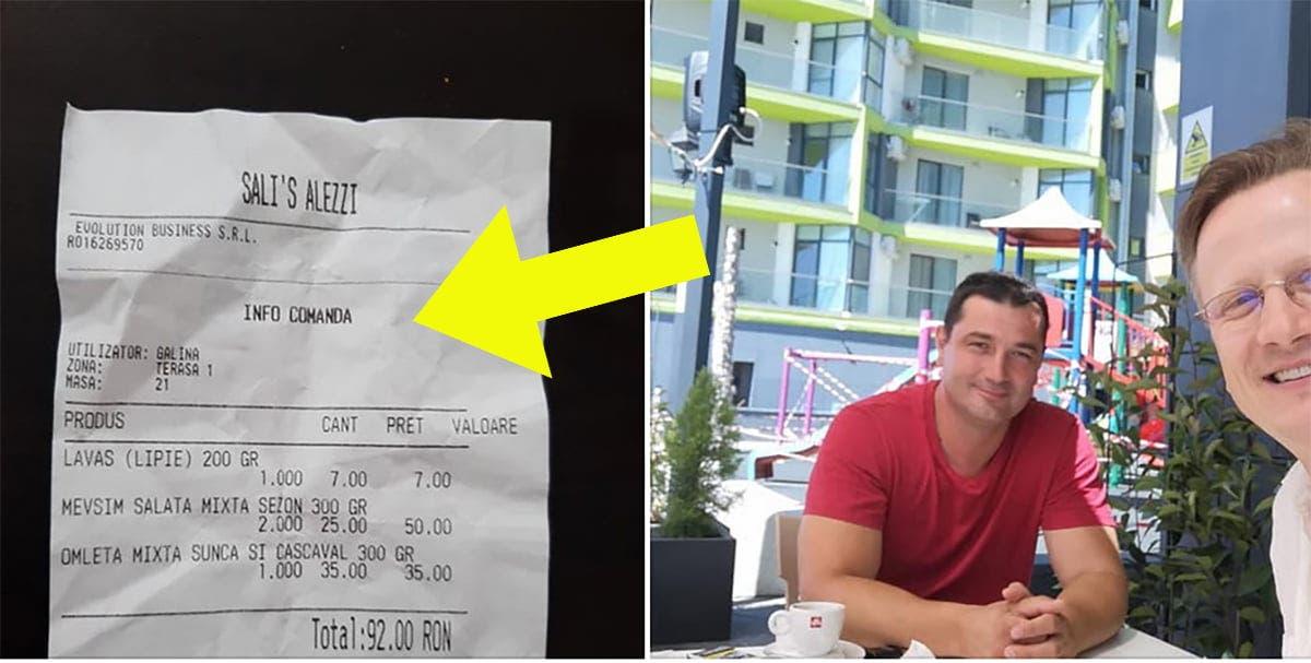 Nota de plata primita la un restaurant din Mamaia! Cat au platit pentru o omleta si o salata asortata: Am vrut sa iau si scaunul, crezand ca e inclus in pret
