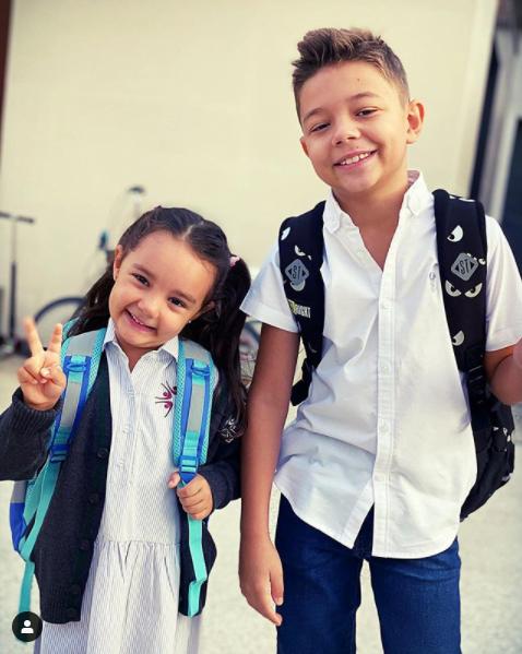 David si Eva Maruta in prima zi de scoala