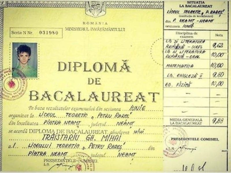 Diploma bac Mihai Trăistariu