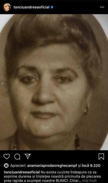 Bunica Andreei Tonciu a murit