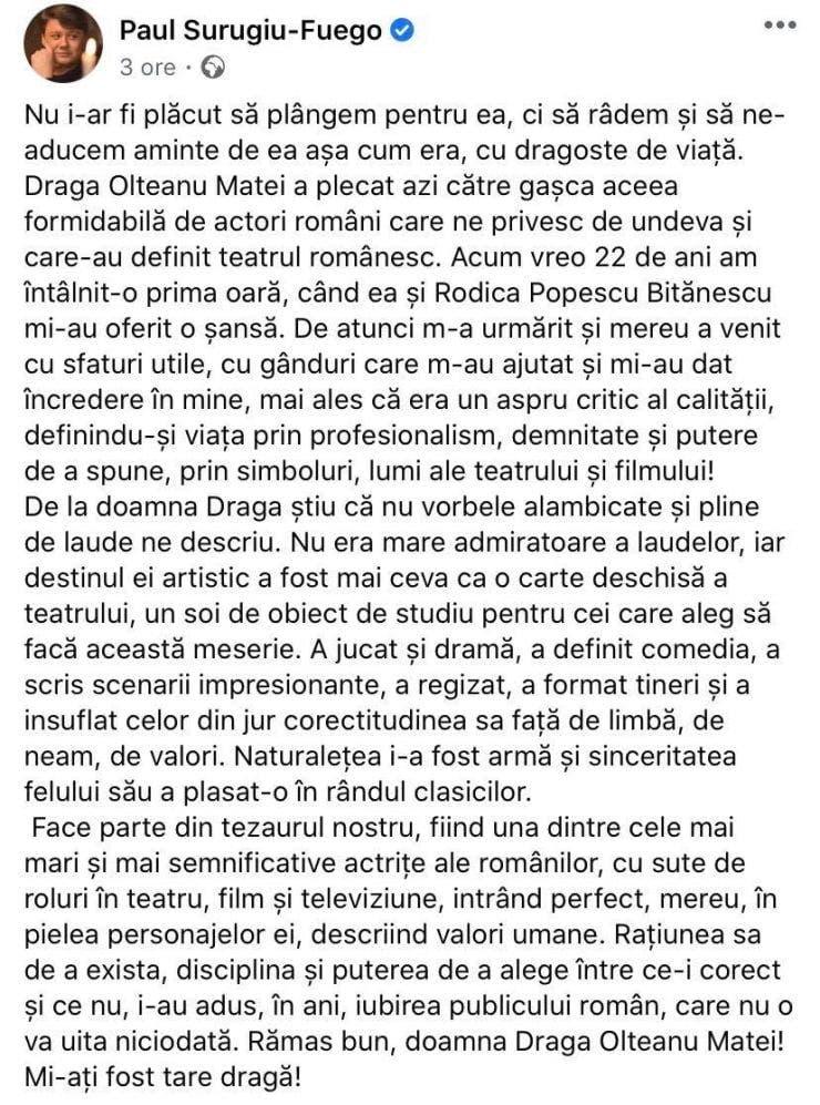 Mesajul lui Fuego după moartea actritei Draga Olteanu Matei