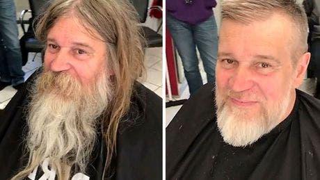 Transformarea uimitoare! Un om al străzii s-a lăsat pe mâna unui stilist celebru FOTO