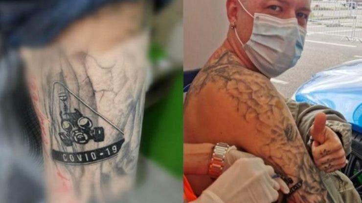 """Tatuajul surprinzător făcut de un orădean în amintirea vremurilor pandemice. La scurt timp și-a """"imunizat"""" desenul cu vaccinul anti-COVID19"""