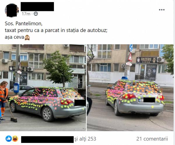 Cum și-a găsit un bucureștean mașina parcată în stația de autobuz? Toți fac poze când trec pe lângă ea